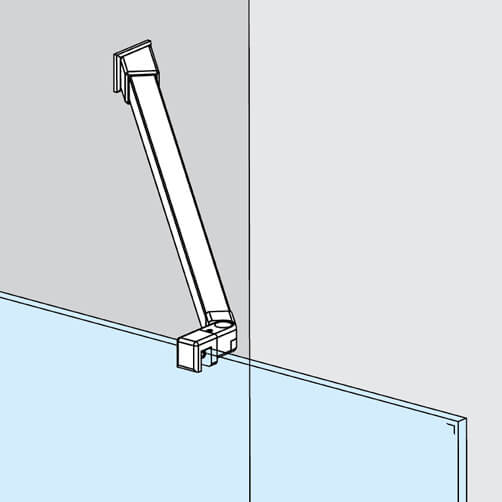 Wall to Glass Shower Screen Support Arm - 45 Degree