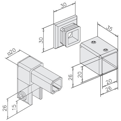 Square Screen Support - Wall to Glass - Dimensions