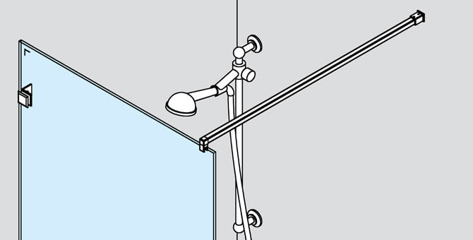 Square Wall Mount Shower Screen Support Arm