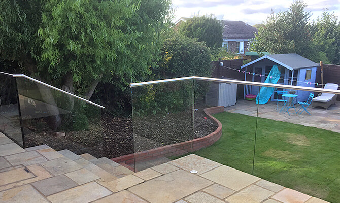 Glass Balustrade on Raised Patio Area
