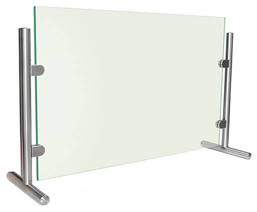 Glass Sneeze Guard with Stainless Steel Posts