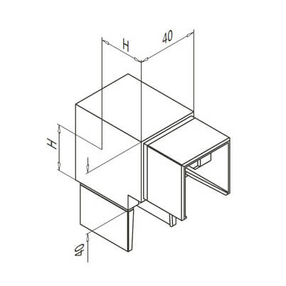 Square Vertical Corner Handrail Connector - Dimensions