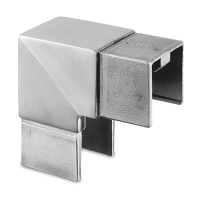 Square Vertical Corner Handrail Connector For Glass Channel Balustrade