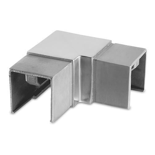 Square Handrail Corner Connector For Glass Channel Balustrade