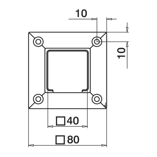 Square Wall Flange Connector - Dimensions