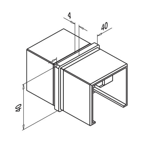 Square In-line Handrail Connector - Dimensions