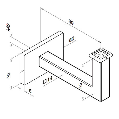 Technical Drawing for Square Line Flat Handrail Support