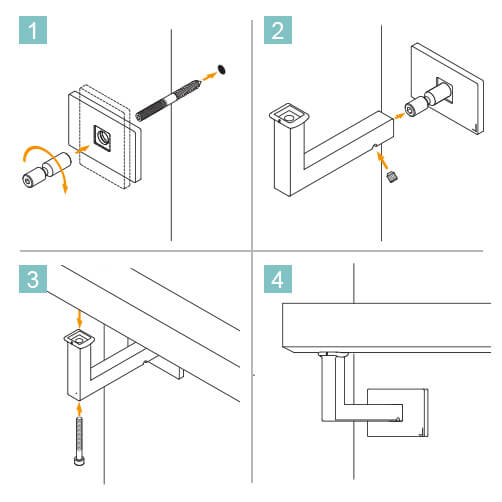 Flush Fix Square Flat Handrail Bracket - Installation