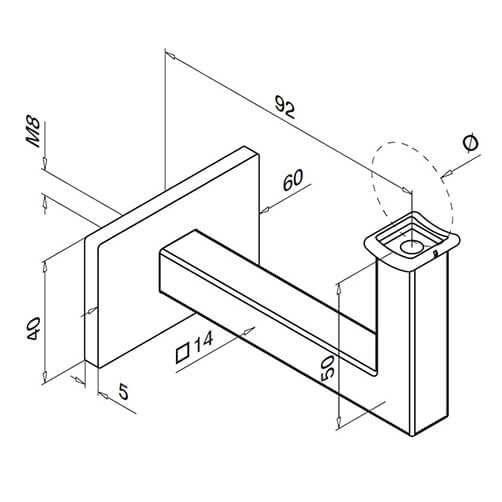 Technical Drawing for Square Line Tubular Handrail Support