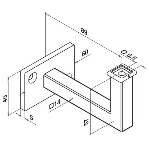 Square Line Flat Mount Supporting Bracket Diagram
