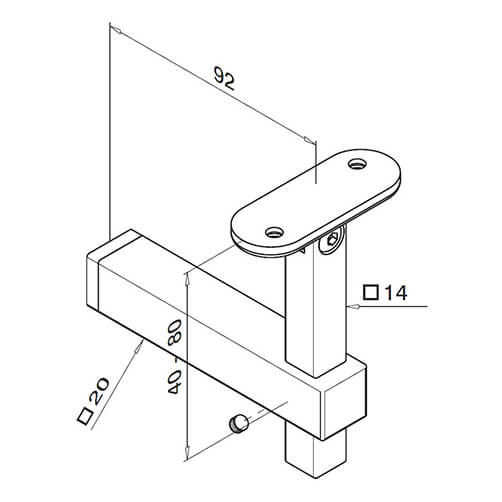 Square Line Adjustable Flat Mounting Handrail Bracket Technical Drawing