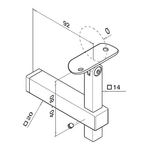 Square Adjustable Flat to Tube Mount Handrail Bracket - Dimensions