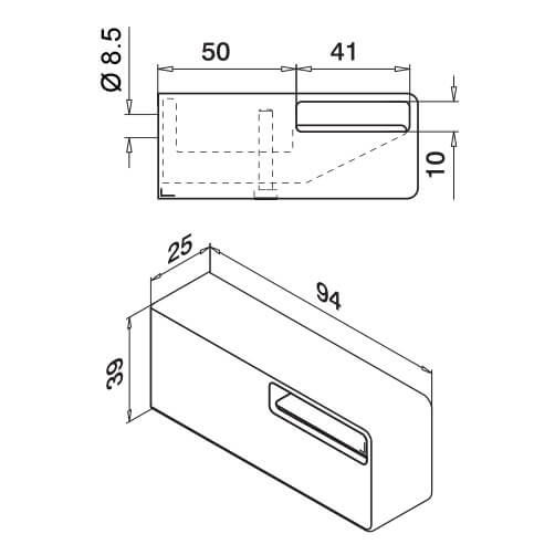 Square Line Bar Handrail Support Bracket Diagram