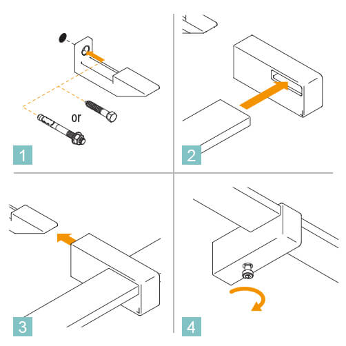 Flush Fixing Square Bar Handrail Bracket Instruction