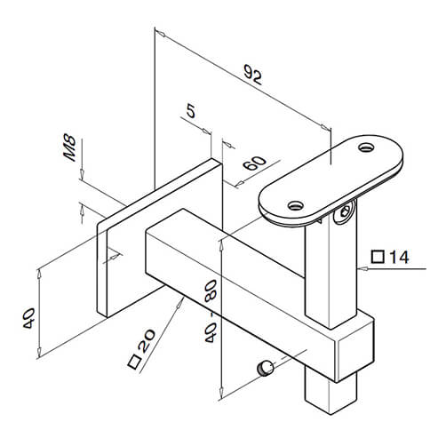 Square Line Flat Fixing Adjustable Angle Handrail Support Technical Drawing