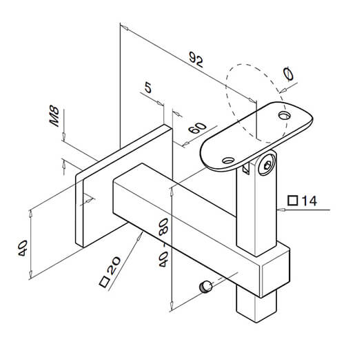 Square Adjustable Angle Flat to Tube Handrail Bracket - Dimensions