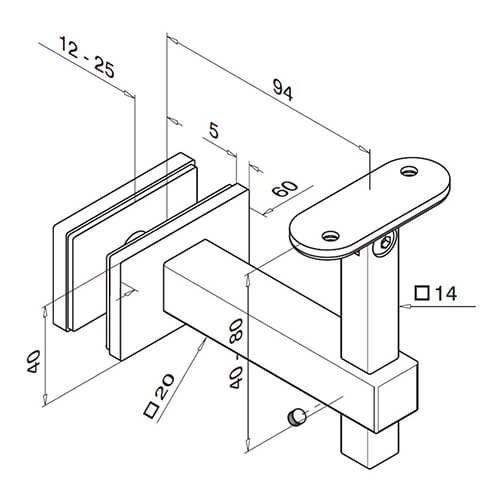 Technical Diagram for Glass Mount Flat Handrail Bracket