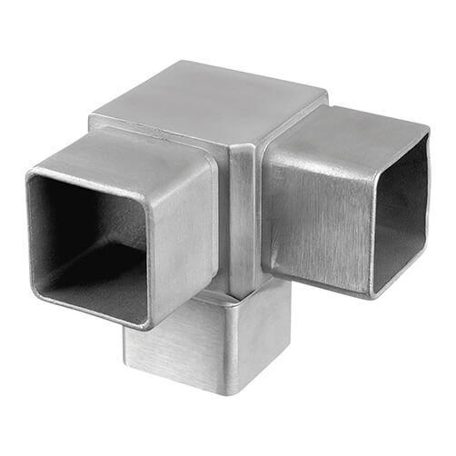 Stainless Steel 3-Way 90° Square Tube Flush Connection