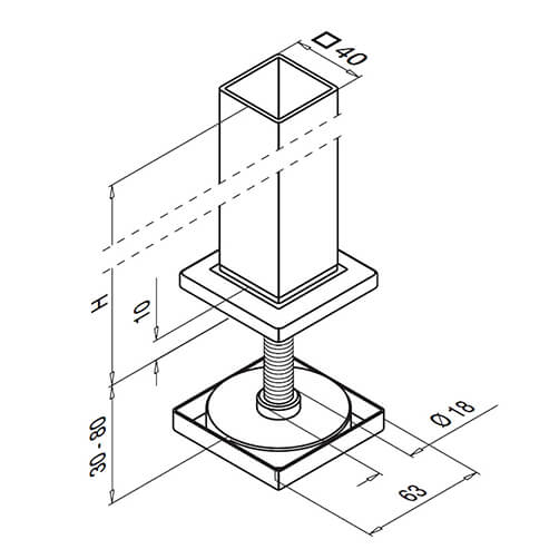 Square Line Post Flange Technical Drawing