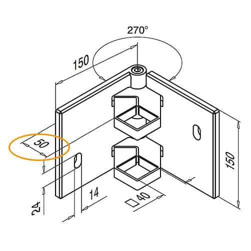 Adjustable Angle Square Post Corner Bracket Diagram