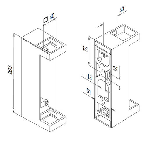 Square Balustrade Post Bracket Technical Drawing