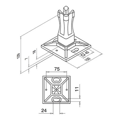 Square Baluster Post Base Flange Technical Drawing