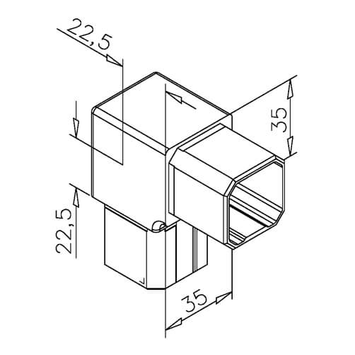 Tube Connector - Square - Dimensions