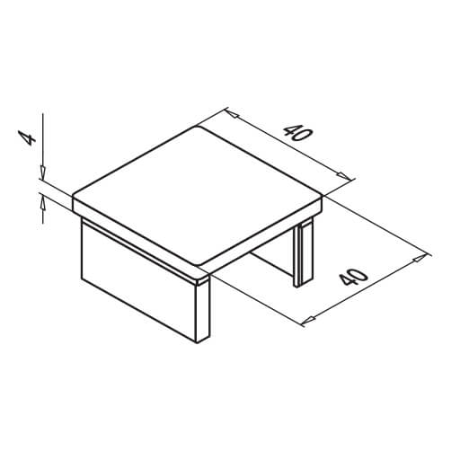 Square Glass Channel Handrail End Cap - Dimensions