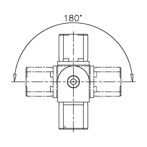 Square Tube Connector - 180 Degree Adjustment