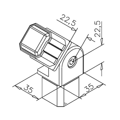 Square Tube Connector - Adjustable - Dimensions