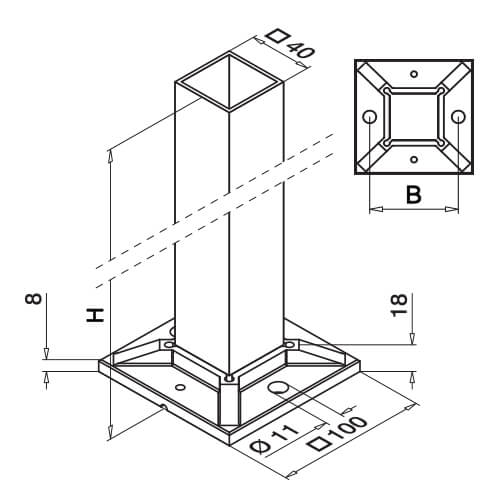 Square End Post For Glass Balustrade Base Dimensions