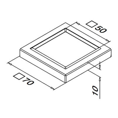 Stainless Steel Square Base Cover Cap Dimensions