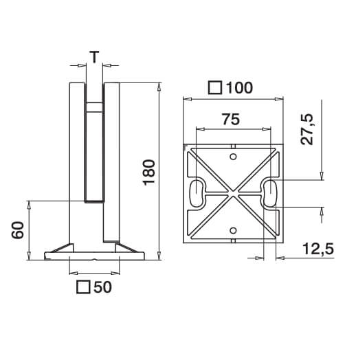 Stainless Steel Square Floor Mounting Base Glass Clamp Diagram
