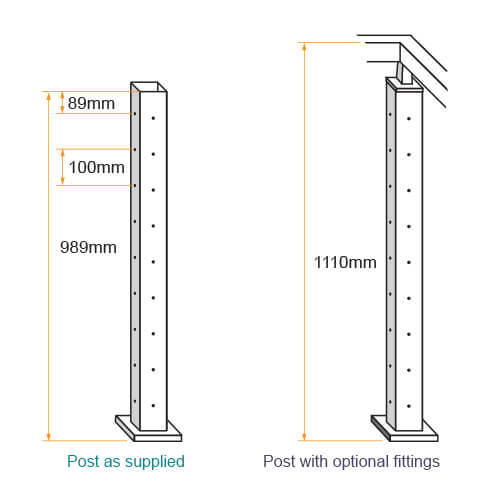 Square Balustrade Pre-drilled Corner Post Dimensions