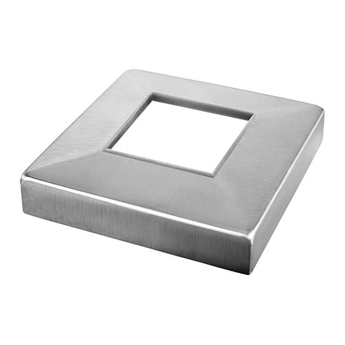 108mm Square Base Cover Cap for 50mm Profile Tube - Stainless Steel