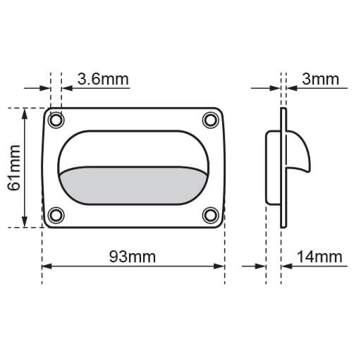 Square Cup Pull Handle - Dimensions