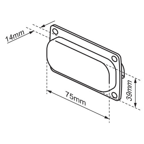 Square Cup Pull Handle -  Recessed Dimensions