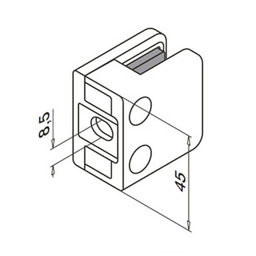 Glass Clamp - Square - 6mm to 10mm - Flat Mount