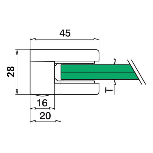 Glass Clamp - Square - 6mm to 10mm - Flat Mount - Dimensions