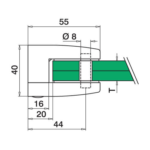 Flat Mount Square Glass Clamp for Glass up to 15mm Thickness - Diagram