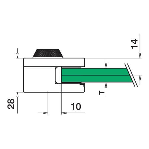 Glass Clamp - Square - 8mm to 12.76mm - Profile