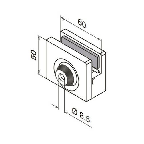 Glass Clamp - Square - 8mm to 12.76mm - Dimensions