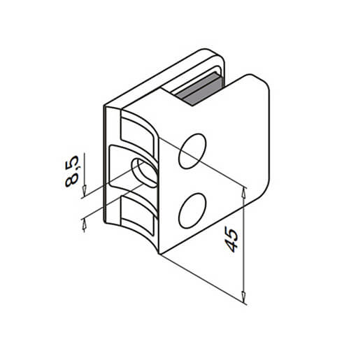 Glass Clamp - Square - 6mm to 10mm - Tube Mount