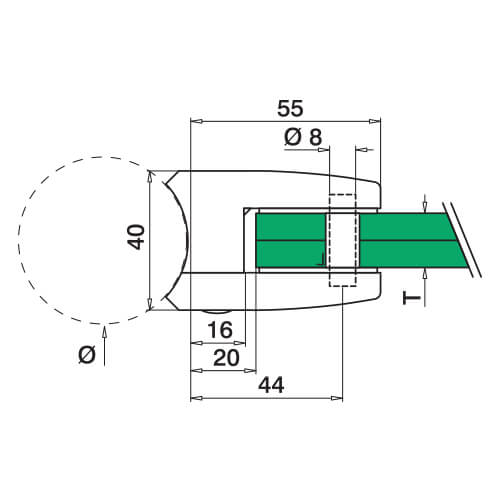Glass Clamp - Square - 12mm to 17.52mm - Tube Mount - Dimensions