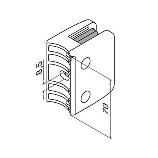 Glass Clamp - Square - 12mm to 17.52mm - Tube Mount