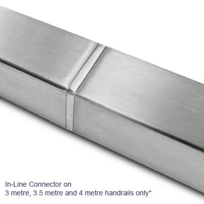 Stainless Steel Square Handrail with In-Line Connector
