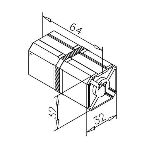 Square Tube Connector - In-Line - Dimensions