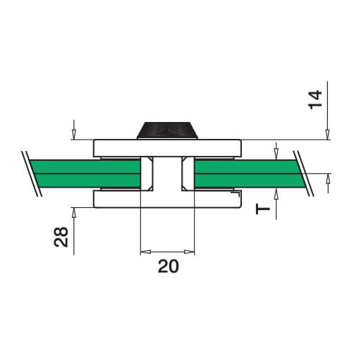 Stainless Steel Square In-Line Glass Connector - Diagram