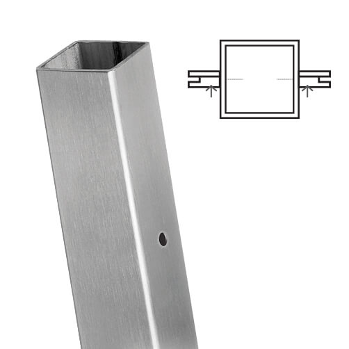 Square Stainless Steel Mid Post For Glass Balustrade