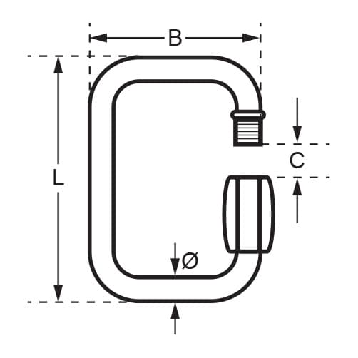 Stainless Steel Square Quick Link - Unstamped - Diagram